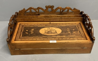 Good Victorian Sorrento ware walnut fold over fitted writing...