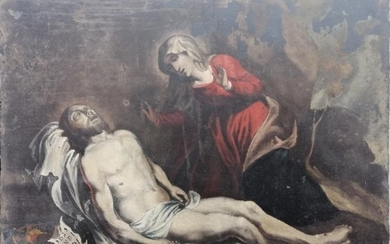 Great Oil Painting on Slate LA PIETA ' - First half 18th century