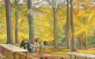 Gustaf Wolmar: Forest scenery. Signed and dated GW -18. Oil on canvas. 61×70 cm.