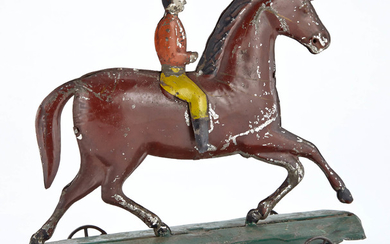Horse and Rider Tin Pull Toy