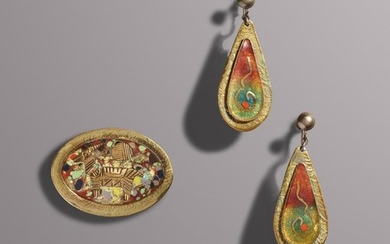 Howard Schleeter, Enamel jewelry: Brooch and earrings