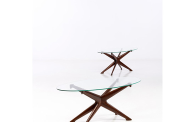 Ico Parisi (1916-1996) Pair of coffee tables Walnut wood and glass Edition Fratelli Rizzi, Initimiano Creation date: circa 1...