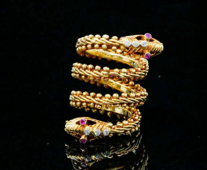 Ilias Lalaounis 18K Yellow Gold Serpent Wrap Ring