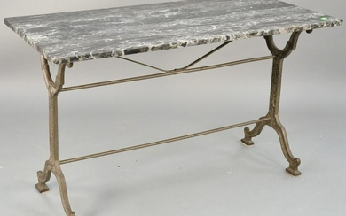 Iron base table with grey marble top. ht. 28 in., top