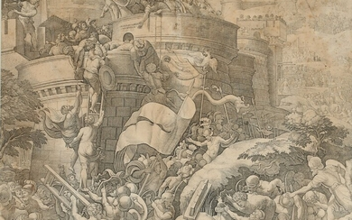 Italian printmaker 17th century after Georg Pencz: The battle of Cartagena; Roman soldiers storming a...