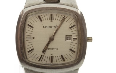 LADY'S LONGINES STAINLESS STEEL AUTOMATIC WRIST WATCH, early 1970s,...