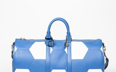LOUIS VUITTON | BLUE AND WHITE APOLLO WORLD CUP KEEPALL BANDOULIERE 50 WITH PALLADIUM HARDWARE