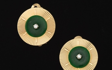 Ladies' Vintage Gold, Green Jade and Diamond Pair of Ear Clips