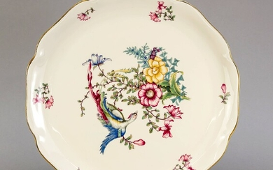 Large decorative plate, Rosenthal, Kronach, 1930-40s, curved edge, polychrome decor with bird of paradise on a branch of flowers, gold edge, Ø 34 cm