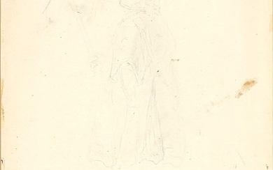 "Louis Jean Desprez, attributed to: To studies of figures. Unsigned. Inscribed ""Desprez figur till Gustaf IIIs besök i Petruskyrkan""."