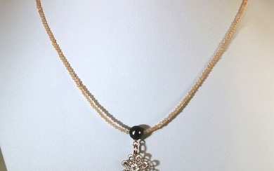 #Low reserve price# - 925 Silver, Tahitian pearls, drop 12x21,5 mm & Sunstones faceted - Necklace Sunstones - Pearls