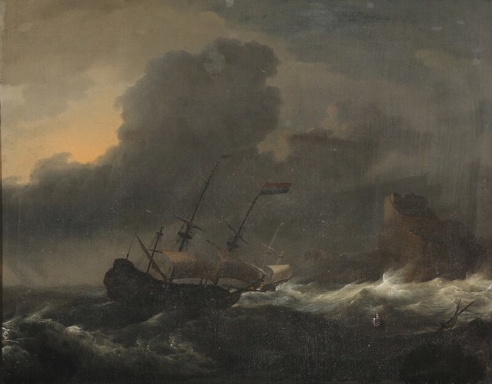 Ludolf I Backhuysen, circle of, 17th century: A Dutch ship in high seas. Unsigned. Oil on canvas. 52×65 cm.