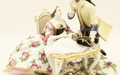 MEISSEN PORCELAIN COURTING SCENE MODEL OF SEATED MAIDEN