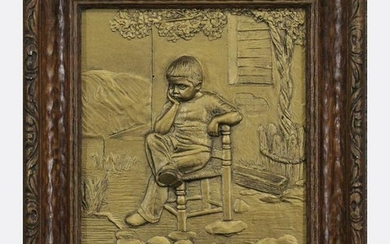 MORMED, Artini, Relief Plaque Young Boy Seated in Chair