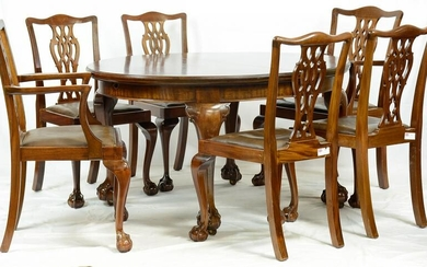 Mahogany Chippendale Style Ball & Claw Table & 6