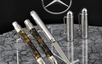 Mercedes Benz Daimler car Iridium NiB / writing set with case * No Reserve Price * - Promotional material - High Price & Exclusive Chrom Concessionaire pens Letter Opener Set - Gift Set - Leather Boxof 2