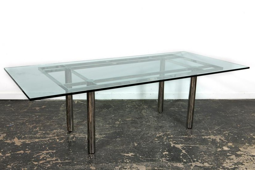 Mid Century Style Chrome & Glass Dining Table