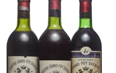 Mixed Château Grand-Puy-Ducasse, Château Grand-Puy-Ducasse 1950 Worn capsule, slightly bin-soiled and nicked label Level upper shoulder (1) 1953 Worn capsule, slightly bin-soiled label Level top shoulder (1) 1970 Bin-soiled label Level base of neck (1)