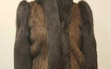 Modern Mink with Fox Trim and Sleeves Short Coat Size