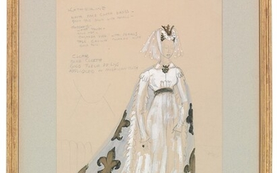 Motley Theatre Design School, c. 1930, A costume design for Jessica Tandy, as Princess Katherine in Tyrone Guthrie's 1937 Production of Henry V at the Old Vic, London