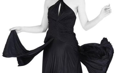 NEW VERSACE KEYHOLE BLACK JERSEY DRESS with METAL