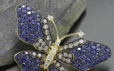 NO RESERVE PRICE - 18 kt. Yellow gold - Brooch, Pendant Exclusive butterfly with the finest sapphires and brilliant cut diamonds