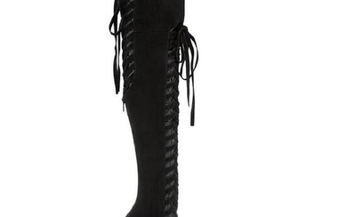 New Versace Over The Knee Black Boots