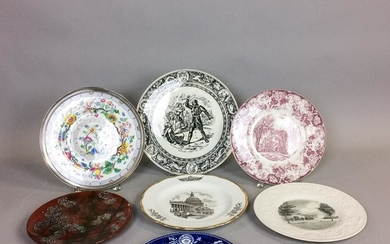Nine Wedgwood Plates, including a Framingham blue and white, a National Gallery, a sterling-mounted ironstone, and an Ivanhoe, dia. to