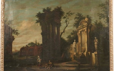 Oil on Canvas, Figures Amidst Ruins