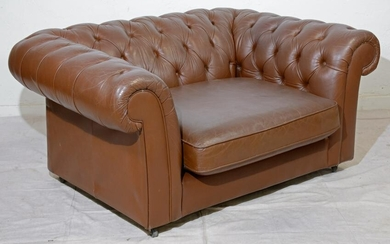Oversize Brown Leather Chesterfield Club Chair