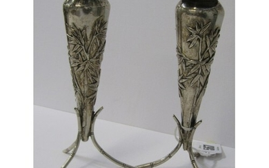 PAIR OF CHINESE SILVER VASES, of tapering cylindrical design...