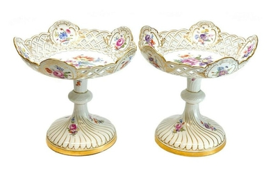 Pair Meissen Hand Painted Porcelain Compotes