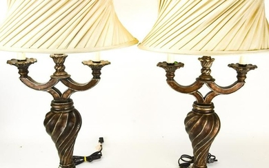 Pair Neoclassical Style Double Arm Table Lamps