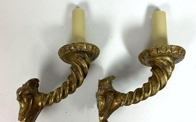 Pair Twisted Wood and Plaster Wall Sconces.