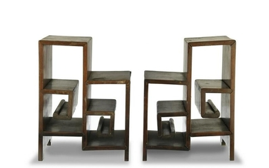 Pair of Chinese Hardwood Curio Stands, 19th Century