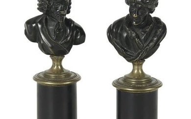 Pair of French Bronze and Marble Busts