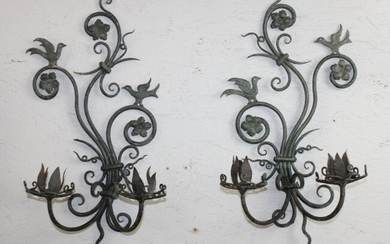 Pair of French wrought iron sconces with birds