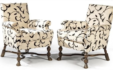 Pair of Louis XIV style armchairs in carved and turned