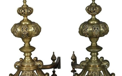 Oversized French Baroque Brass Fireplace Chenets