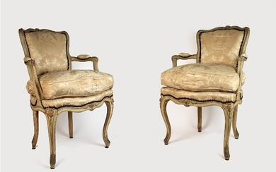 Pair of cabriolet armchairs in moulded wood, carved...