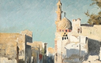 Peder Mønsted: People on a street in Cairo. Signed and dated P. Mønsted Cairo 1893. Oil on canvas. 32.5×21.5 cm.