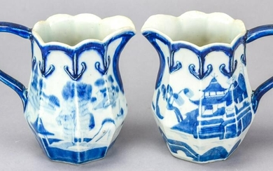 Pr Chinese Canton Blue & White Porcelain Pitchers