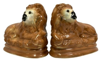 """RARE PAIR OF GLAZED POTTERY LION FIGURES 8.5"""""""
