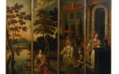 """Rare and important screen in the centre of the room, composed of four panels painted on canvas with all-sided decoration of the episode from the Exodus from the Old Testament """"Moses saved from the waters"""". The artist depicts here the moment of the..."""