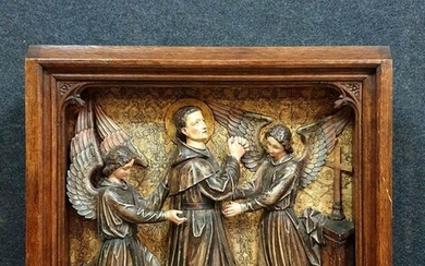 Relief, large religious scene in a frame - 59 x 60 cm - Wood, carved, gilded, and polychrome wood - 19th century