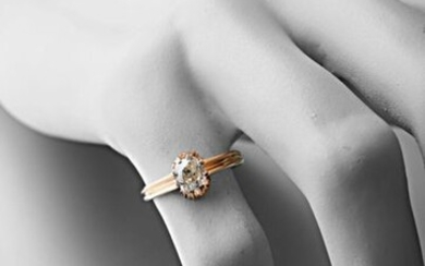 Ring in pink gold 750 thousandths set with an old cut diamond of about 0.70 carat