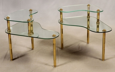 """SEMON BACHE & CO. NEW YORK, MIRRORED GLASS AND BRASS, TWO-TIERED END TABLES, CIRCA 1959 -1960'S, PR. H 16"""" & 22.75"""", W 22"""", L 29"""" &17"""""""