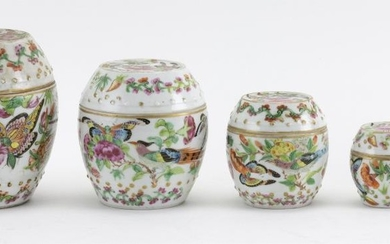 """SET OF FIVE NESTING CHINESE PORCELAIN BOXES In drum form, with a butterfly and flower design. Heights from 1.5"""" to 4.5"""". Collected b..."""