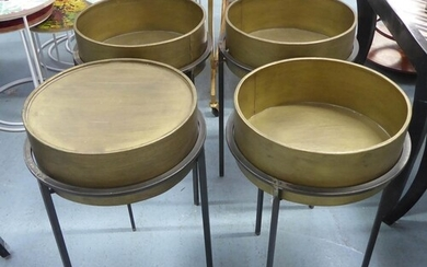 SIDE TABLES, a pair, 1960's French style, bronzed finish, me...