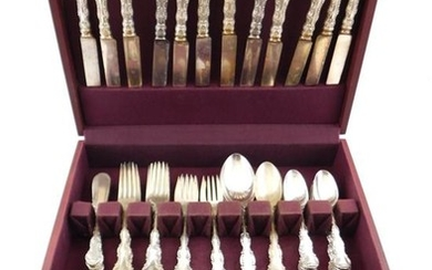 "SILVER: Gorham ""Strasbourg"" pattern sterling flatware in fitted box, fifty-two pieces, including: twelve dinner forks, 6 3/4"" l.; tw..."